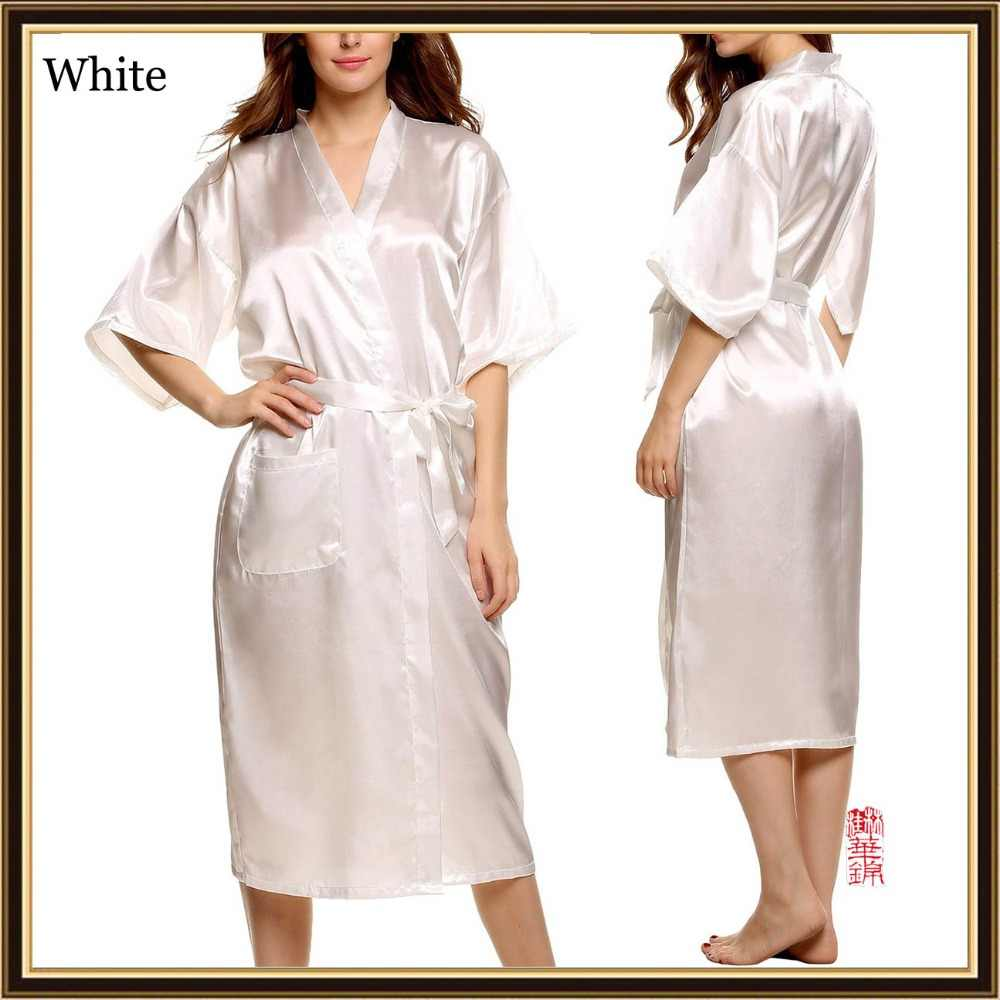 27cf6608e5 3XL Big Size Silk Robes For Women Bathrobe Satin Robe Sexy Kimono Robes  Dressing Gowns For Women Robe Bathrobes Peignoir Femme
