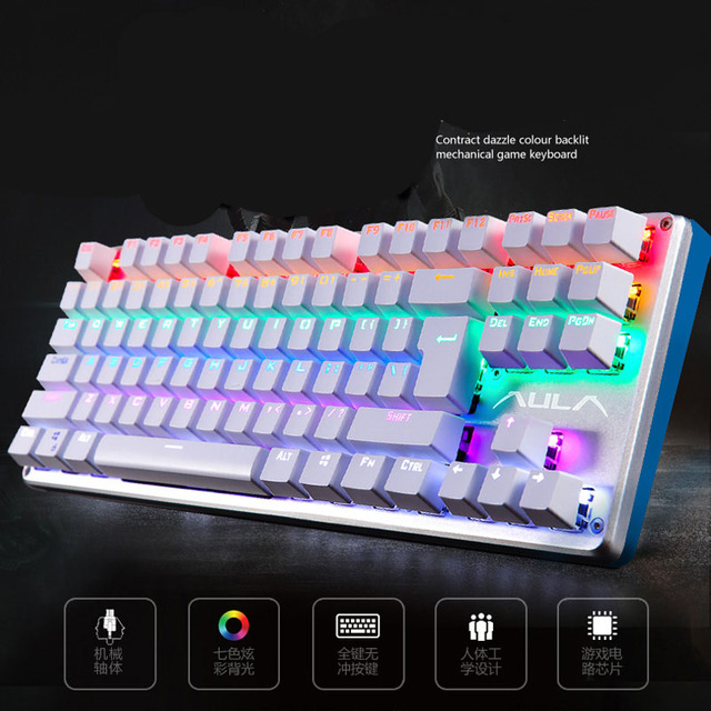 AULA Mechanical Keyboard Blue Switch Game Backlight Desktop Computer Gaming Wired 87/104 Keys Adds Dust Cover Russian sticker 5