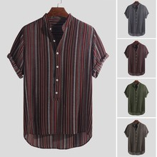 Mens Dark Color Summer Breathable Stripe Cool Shirt Thin Button Cotton short Sleeve