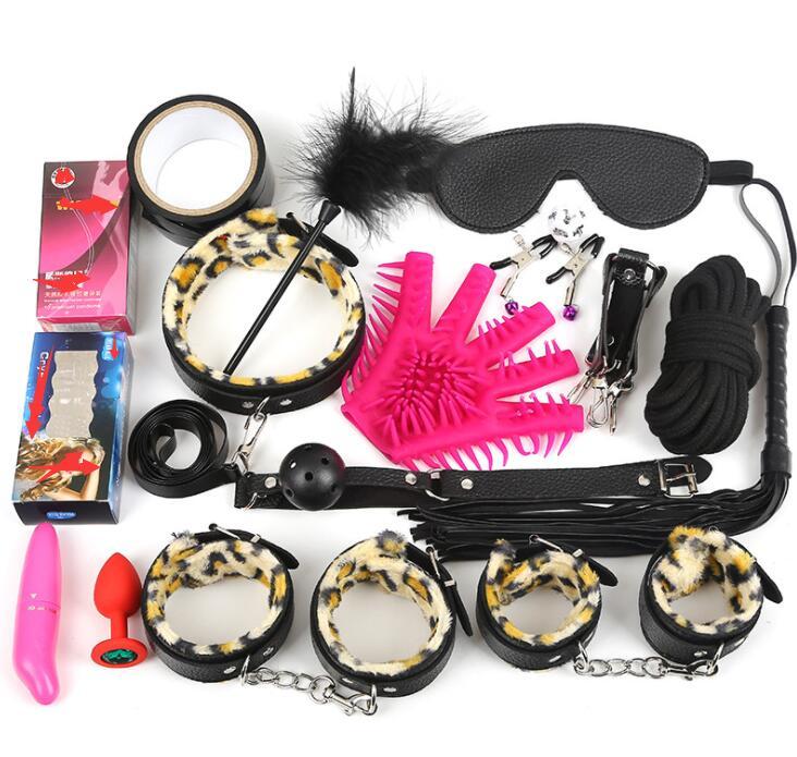 17 pièces Set Sex Toys pour Couples menottes en cuir pour sexe bouche Gag collier Bdsm Bondage corde masque fouet cheville manchettes jeux pour adultes