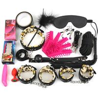 17pcs Set Sex Toys for Couples Leather Handcuffs for Sex Mouth Gag Collar Bdsm Bondage Rope Mask Whip Ankle Cuffs Adult Games