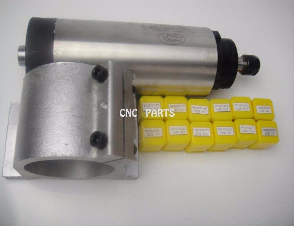 Mandrino di fresatura CNC ER20 Mandrino di raffreddamento ad aria 2.2KW + 1 supporto mandrino abbinato + 12 pezzi ER20