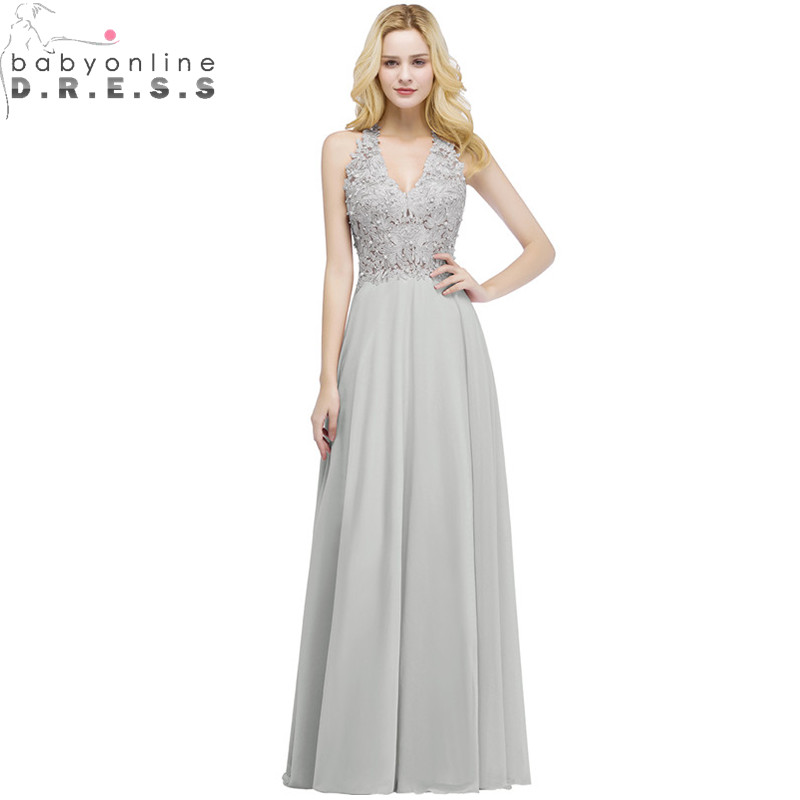 Robe de Soiree Sexy Lace Pearls Long Evening Dress Charming 5 Colors V Neck Evening Gowns