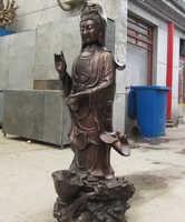 Xd 001398 50 China clásica Bronce Kwan-yin Guan Yin Bodhisattva Buda en la Estatua Del Dragón