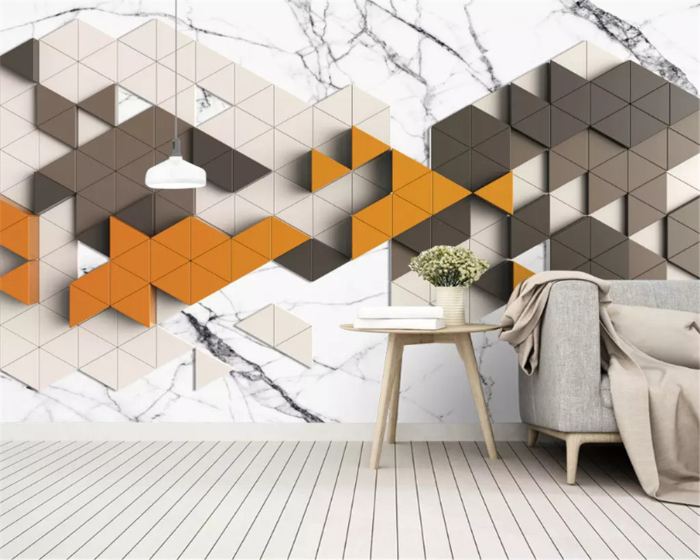 beibehang Custom Fashion Nordic Simple Personality Vintage Abstract Geometric Golden TV Background wall papers home decor behang in Wallpapers from Home Improvement