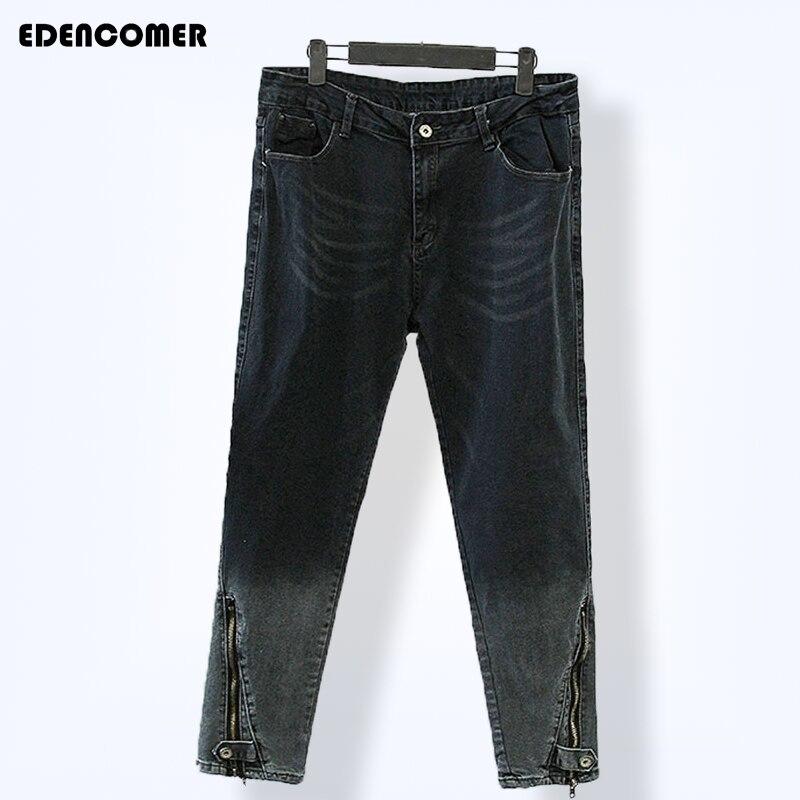 Plus Size Women Pants 2017 Large Size Ladies' Spring 100 Kg Elastic Nine Minutes of Pants Zipper Foot Black Trousers Jeans