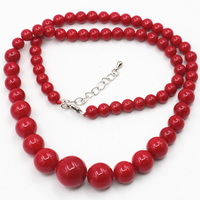 lady's gift Jewellery Artificial Coral Red Stone Making 6 14 Mm Beautiful Round Beads DIY Charms Chains necklace 18inch