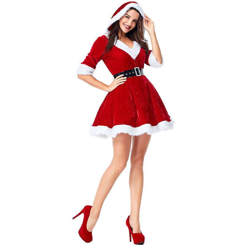 2018 New Christmas Costume For Adult Women Hooded Christmas Dress Sexy V Neck Red Fancy Dress Tutu Mesh Christmas Clothes