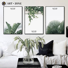 ART ZONE Nature Green Leaf Art Painting Nordic Plant Still Life Wall Decor Print Poster Living Room Bedroom Decor Art Painting(China)