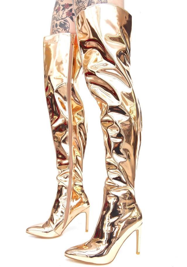 Miroir Stilettos Style Genou black Cuir Date Bottes Argent Chaussons Sur Silver Jawakye golden Piste Le Mode Femmes Or En Cuissardes Métallique wBpFtFYq