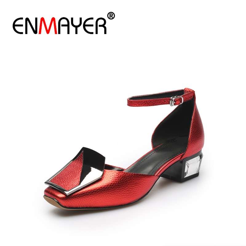 ENMAYER Woman High Heels Sandals Summer Sandals Square Toe Causal Shoes Women Metal Decoration Thick heels Genuine Leather CR729