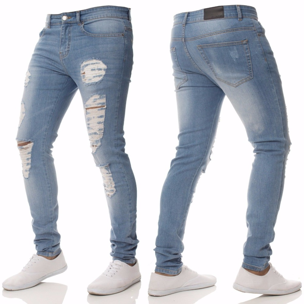 Solid ripped Ripped Beggar Jeans With Knee Hole 4
