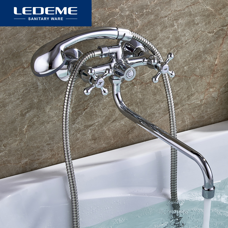 LEDEME Bathtub Faucet Shower Faucets Classic Chrome Plated Single Holder Long Nose Brass Bathroom Faucet Bath Mixer Tap L2308
