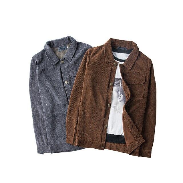 Mens Vintage Corduroy Solid Jacket Coat 2018 Brand New Winter Male