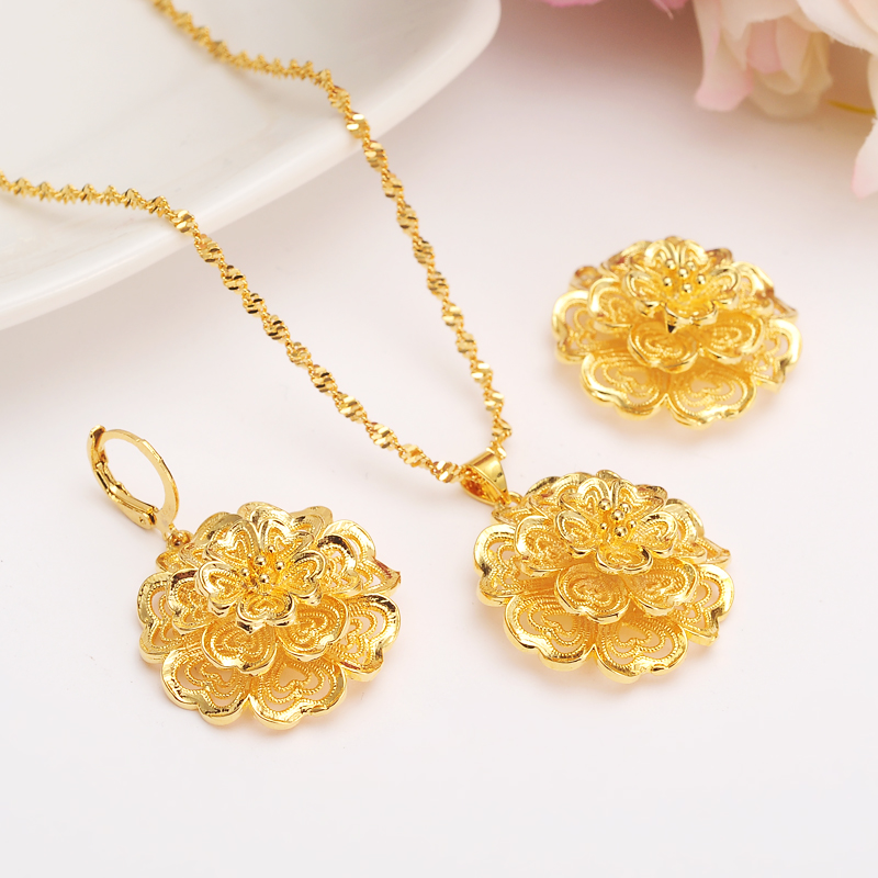 Ethiopian 24 k Fine Yellow Gold Filled Multichamber Flower set Jewelry Pendant Chain Ear ...