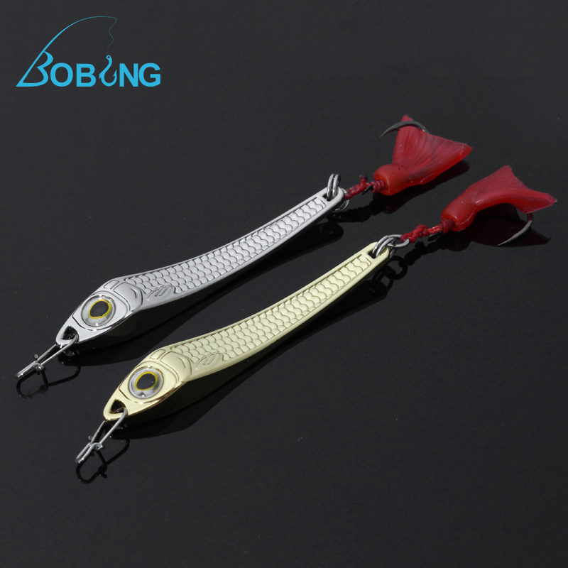 Bobing 10g 6.4cm Hard Metal Fishing Sequins Baits Scale Fish Crankbait Spinner Spoon Casting Lure Paillette Sea Hook Tackle