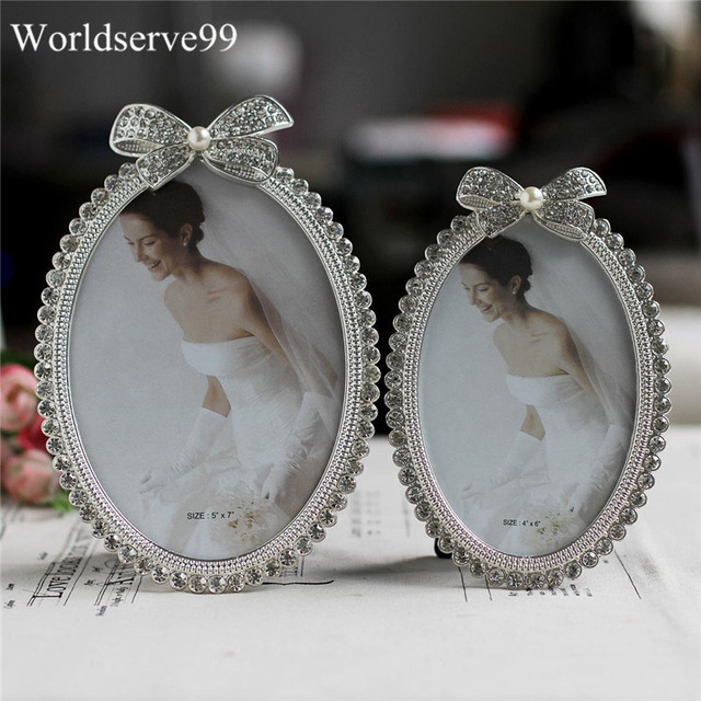 6 Crystal Pearl Photo Picture Frame Diamond Bowknot: Elegant Crystal Pearl Bowknot Photo Frame Wedding Bridal