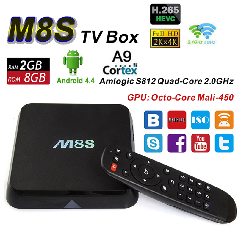 Android TV Box M8S Amlogic S812 Quad Core 2G 8G Wifi BT 4.0 XBMC H.265 4K 2K Smart Media Player Google IPTV VS M8 Set Top Box original m8s android tv box amlogic s812 quad core gpu mali450 2g 8g kodi xbmc media player 2 4g 5g wifi with air mouse keyboard