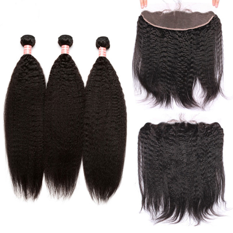 3 Kinky Straight Human Hair Bundles With Lace Frontal Closure 13x4 Brazilian Hair Weave Bundles With Closure Honey Queen Remy
