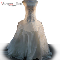 Free Shipping Vera Off Shoulder Fluffy Organza Flower RufflesTop Quality Bridal Gown Plus Size Real Sample