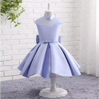 Real Picture High Neck A Line Flower Girl Dresses With Bow Satin First Communion Dress Vestidos
