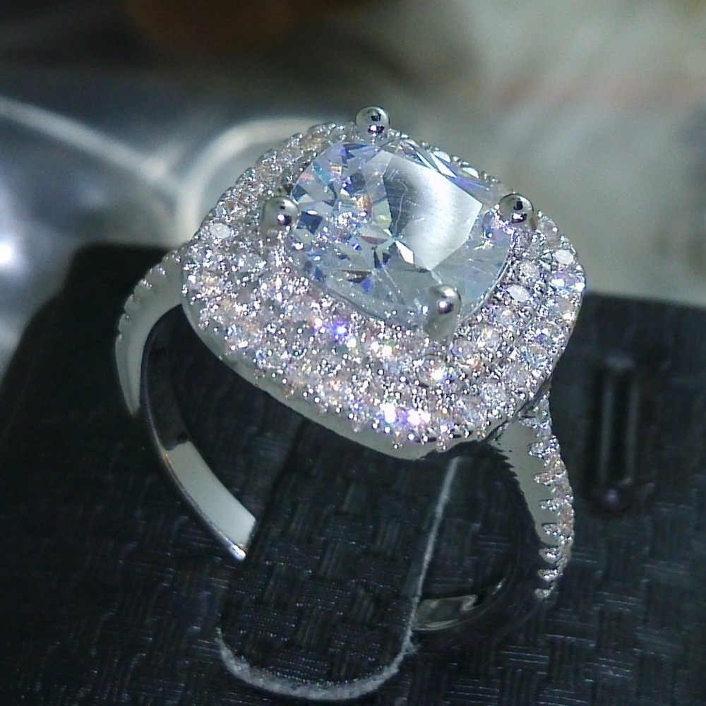 2016 mode-ring neue stil Kissen cut 4ct 5A Zirkon stein 925 sterling silber, Verlobung, Hochzeit band Ring für frauen sz 5-10