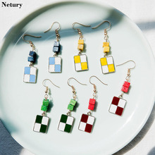 hot deal buy women korea style fashion simple dangle earrings square geometric colorful funny jewelry girl vintage street hot trendy earrings