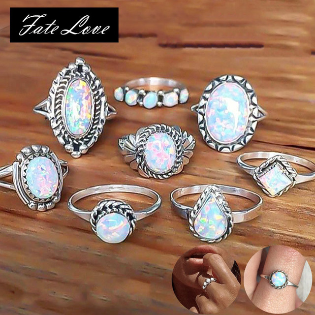 900acf34a7f3fd 8 Pcs New Design Vintage Opal Rings Set For Women Bohemian Geometric  Pattern Flower Rings Set
