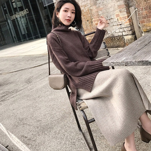 Image 4 - 2019 Winter Women Midi Skirts Korean Casual Ladies A line Flare High Waist Solid Knitted Knit Thick Long Sweater Skirt Women