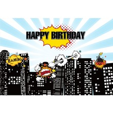 лучшая цена Laeacco Happy Birthday Baby Children Comics City Building Scenic Photographic Backgrounds Photography Backdrops For Photo Studio