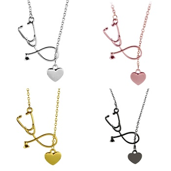 Silver rose gold Stethoscope Necklace Lariat Heart Pendant Necklace Newest Nurse Medical Necklace Collares Bijoux Femme