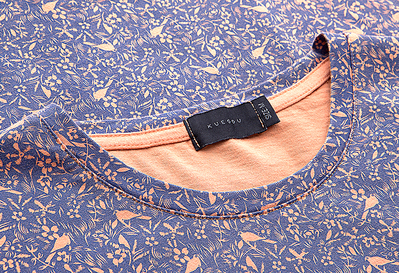 KUEGOU Sommarhatt 100% Bomull T-shirt Lila Blommfågel Tryck Märke - Herrkläder - Foto 4