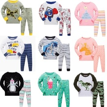 Купить с кэшбэком Autumn Children Pajamas Boys Pure Cotton Suit kids Catamite Children's Garment Thin Section Cartoon Home Clothes Serve Pyjamas