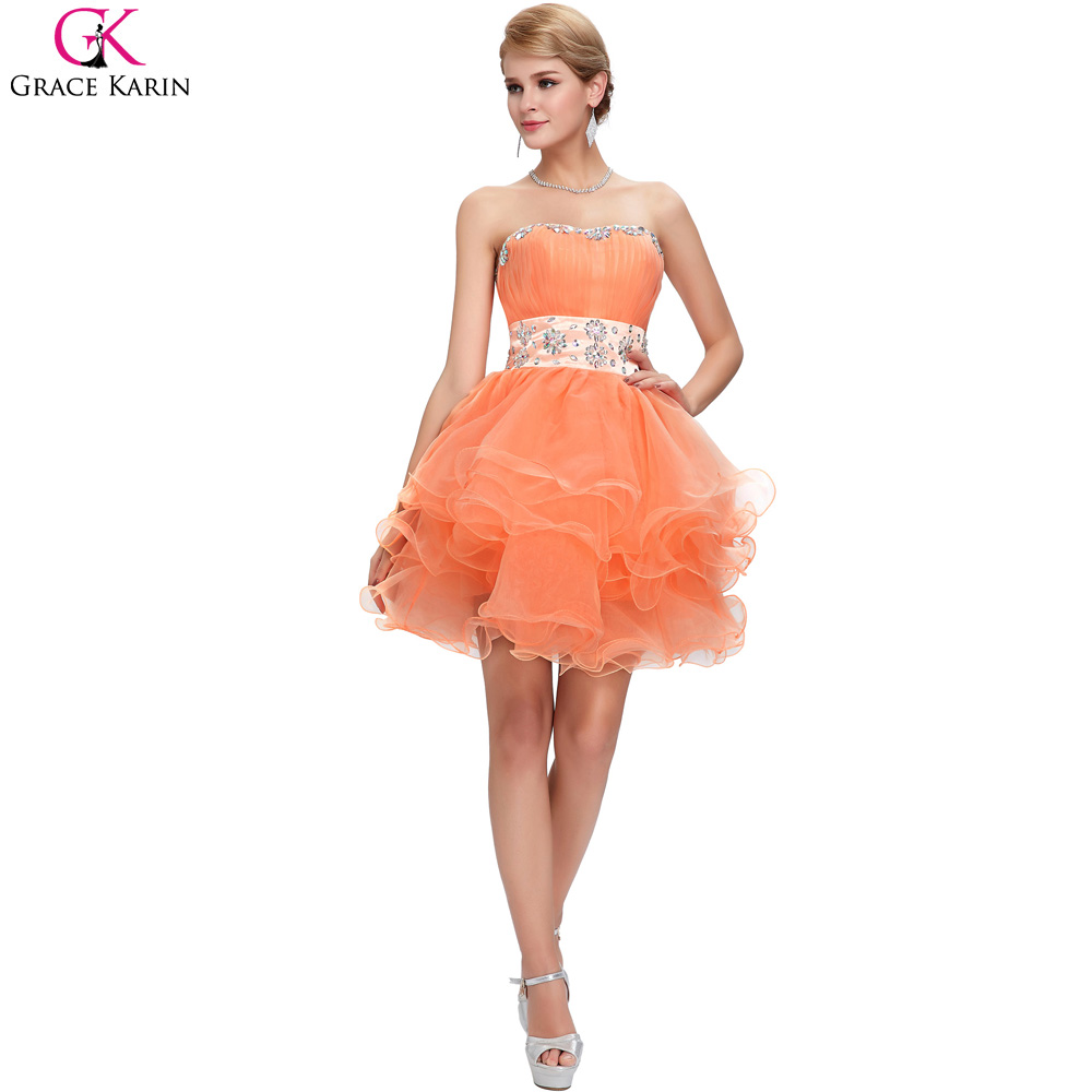 Cheap bridesmaid dresses under 50 grace karin lace up strapless cheap bridesmaid dresses under 50 grace karin lace up strapless voile beaded mini formal gowns orange special occasion dresses in bridesmaid dresses from ombrellifo Images