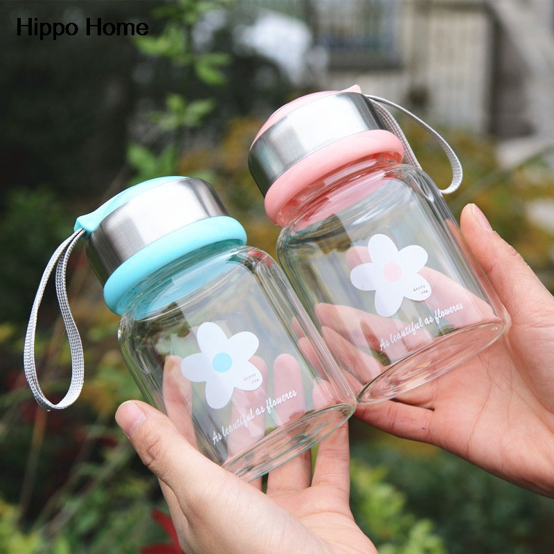 Hipopótamo Casa 350 ml Linda Flor de Té Botella de Agua de Viaje Transparente A