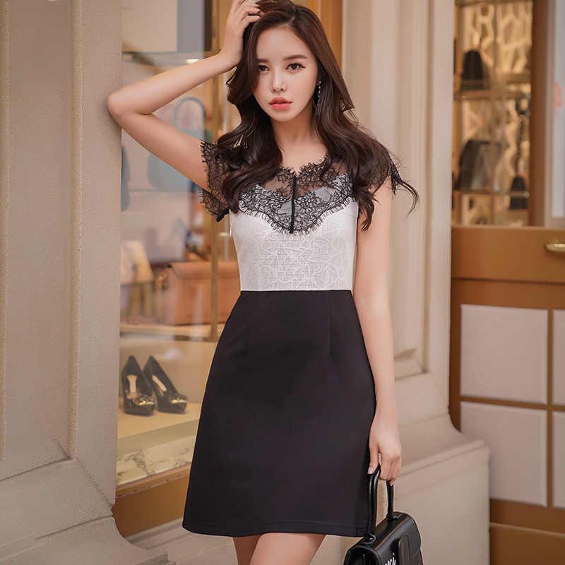 dea8523b3493c Dabuwawa New Summer Women's Elegant Dresses Patchwork Lace Shirts Office  Lady Knee-Length Dresses D18BDR270