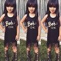 2016 Nova Venda Quente Criança Crianças Baby Girl Roupas de Verão Sem Mangas Borla Mini Vestidos Carta Impressão Boho verão roupas