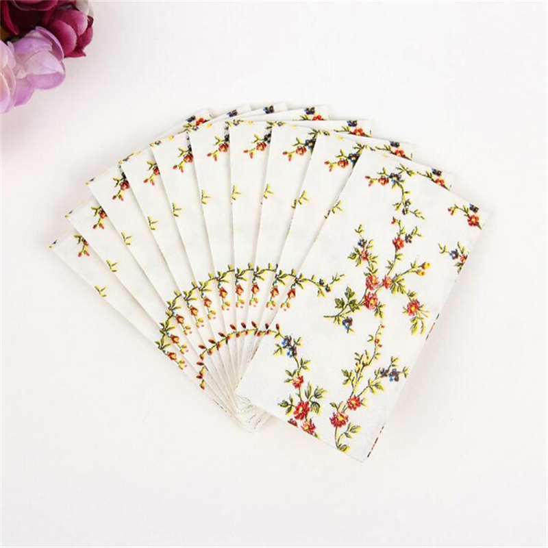 Tissue Paper 10Pcs/lot  3-Layer Flower Wedding Pocket Paper Napkins For Decoupage Birthday Party Decorations Kids