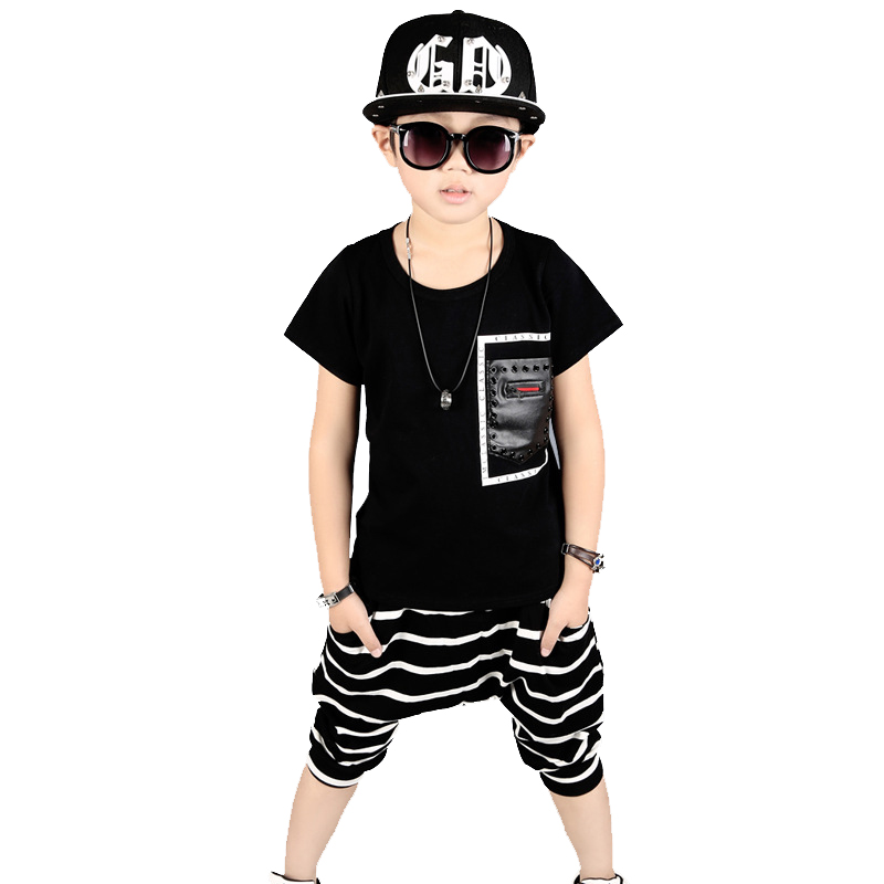 Boys summer clothing kids hip hop clothing 100% Cotton t-shirt+boys shorts 2pcs fashion boy clothes for 3 5 6 8 10 12 years sun moon kids boys t shirt summer