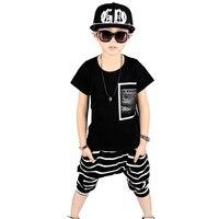 Boys Summer Clothing Kids Hip Hop Clothing 100 Cotton T Shirt Boys Shorts 2pcs Fashion Boy