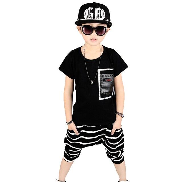 Meninos roupas de verão crianças roupas de hip hop 100% Algodão t-shirt + 4d394e54ee6d9
