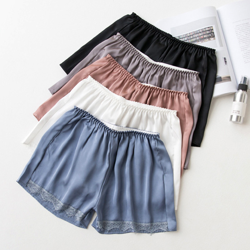 Plus Size Satin Kitten Silky Elastic Waist Women Men Home Sleep Tracksuit Bottom Short Pants Pajama Nightwear Shorts