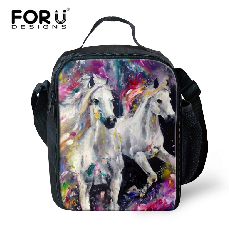 FORUDESIGNS Crazy Horse Print Kids Boys Girls Lunch Bag Thermal Insulated,Animal Storage Tote Lunch Bags for Men Women Travel
