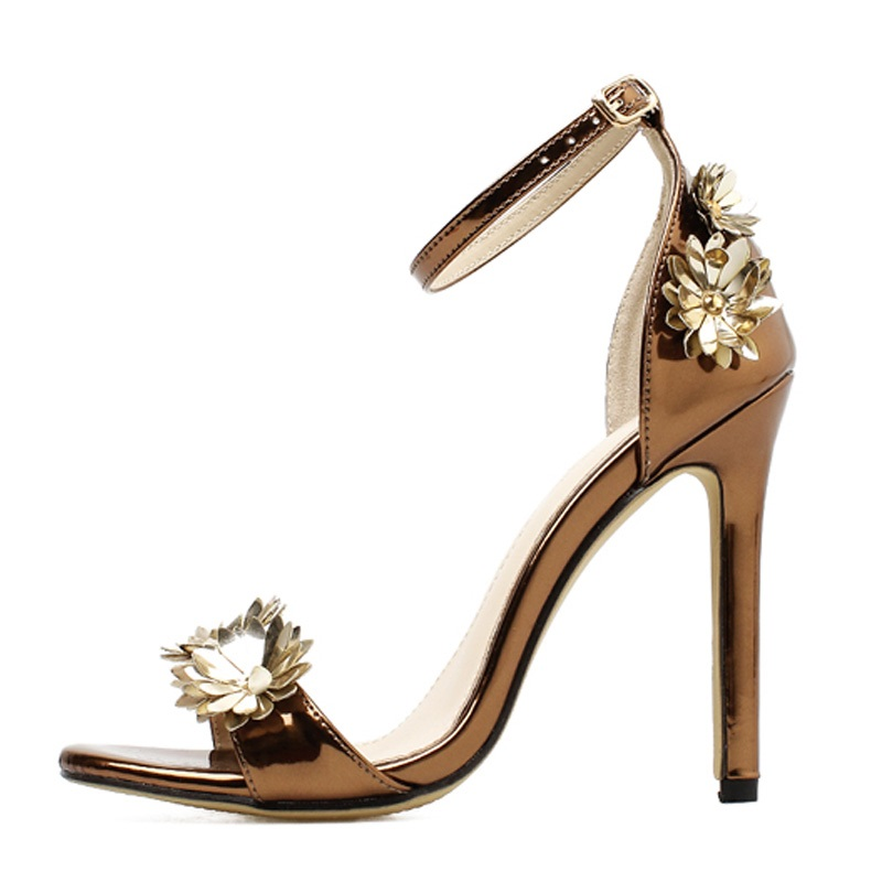 TINGHON Summer Sexy Women Sandals Pumps Buckle Strap Women Sexy Party Golden Flower Wedding shoes in High Heels from Shoes