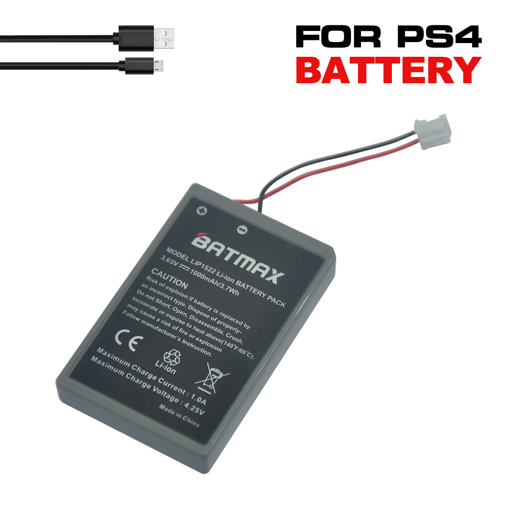 2Pcs  PS4 Gamepad LIP1522 1000mAh Rechargeable Extended Replacement Batteries+1 USB Cable for Sony Playstation PS4 Controller
