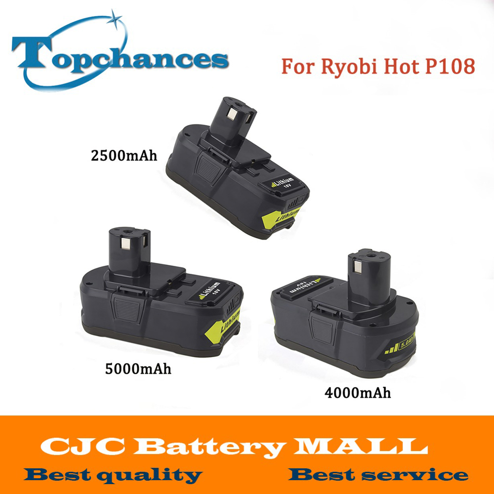 High Quality 18V 2500/4000mAh/5000mAh Li-Ion For Ryobi Hot P108 RB18L40 Rechargeable Battery Power Tool Battery For ONE+ eleoption 2pcs 18v 4000mah li ion rechargeable power tool battery for hitachi bsl1830 bsl1840 330067