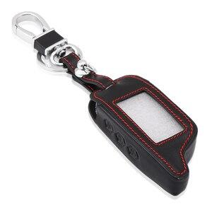 Image 3 - Auto Zubehör, schwarz Leder Auto Styling Schlüssel Abdeckung Fall Für Starline B9 B6 A91 A61 Twage Zwei Weg Auto Alarm System keychain