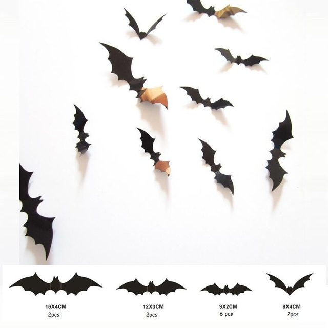 12pcs Stickers Decorations Bat Black Wall Decal Home For Windows