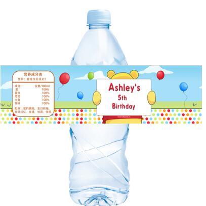 20 pcs personnalise winnie la ppooh etiquette de la bouteille d eau candy bar decoration baby shower enfants fete d anniversaire fournitures faveurs
