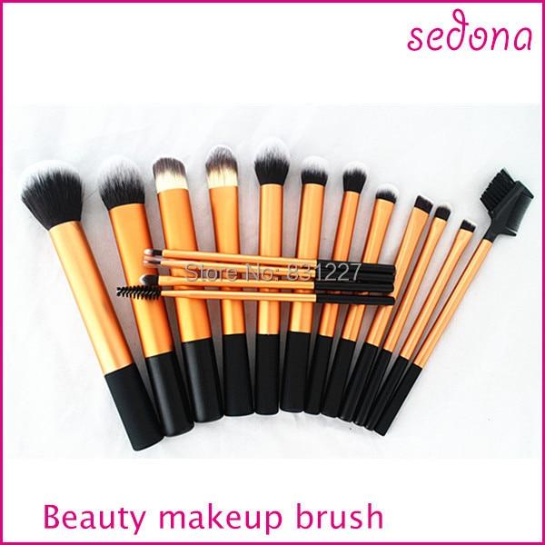 Бесплатная Доставка!! седона марка 16 шт. золото косметические кисти для макияжа комплект, makeup brush set, синтетические щетки для волос